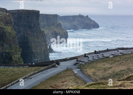 Visitor Area at Cliffs of Moher along the Wild Atlantic Way in County Clare in Ireland - Stock Image