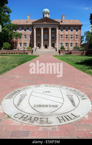 University of North Carolina, Chapel Hill, UNC. The University's seal with the south building in the background - Stock Image