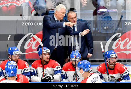 Bratislava, Slovakia. 13th May, 2019. From left Czech ice hockey coach MILOS RIHA and his assistant ROBERT REICHEL in action during the match Czech Republic against Russia at the 2019 IIHF World Championship in Bratislava, Slovakia, on May 13, 2019. Credit: Vit Simanek/CTK Photo/Alamy Live News - Stock Image