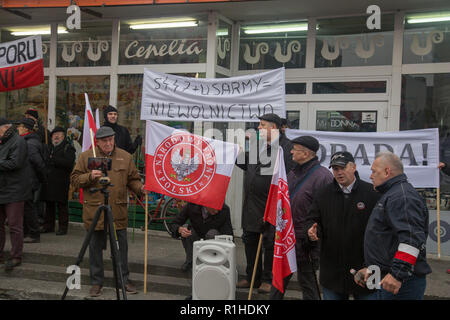 Warsaw, Poland, 11 November 2018: Celebrations of Polish Independence Day: representatives of Polish National Front (Polski Front Narodowy) - Stock Image