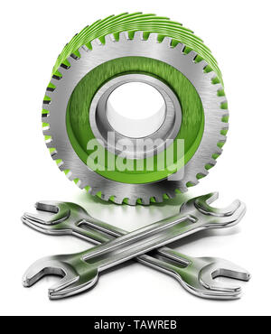 Cogwheel and wrenches isolated on white background. 3D illustration. - Stock Image