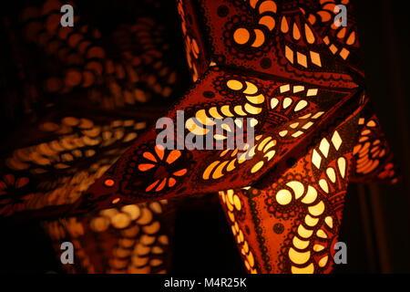 Christmas Star Light Hanging Lantern Decoration - Stock Image