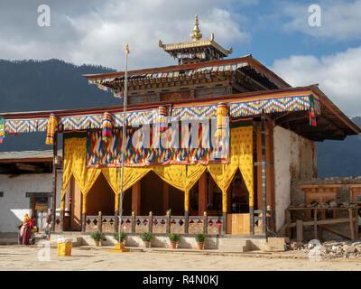 Gangtey Monastery, Bhutan, decorated for the Black-necked Crane festival - Stock Image