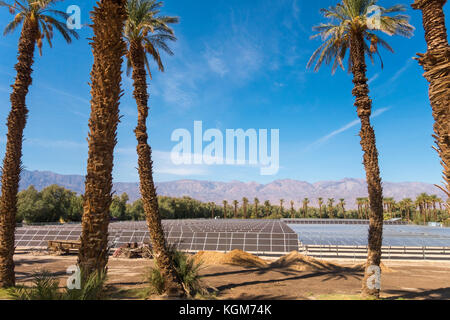 Solar panels Furnace Creek Ranch Village in Death Valley National Park. 1 Megawatt 5 acres 5740 panels array. The - Stock Image