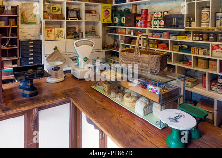 Early 20th Century Village Store interior at the Ryedale Folk Museum in Hutton le Hole, North Yorkshire, England, UK - Stock Image