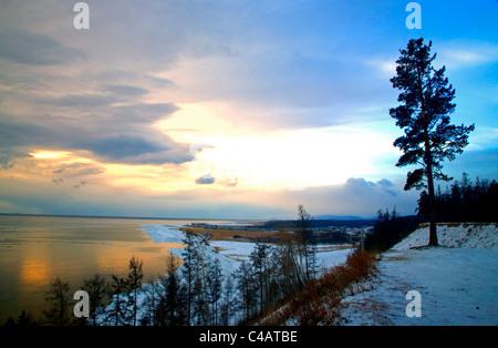 Russia, Siberia, Baikal; Lake Bakal partly frozen in winter - Stock Image