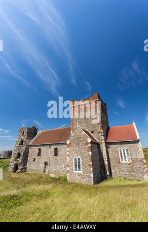 Old Roman Lighthouse and St Mary in Castro Church in Dover Castle - Stock Image