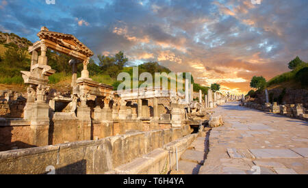 Curetes Street constructed between 102 - 114 A.D. at sunset, Ephesus Archaeological Site, Anatolia, Turkey. - Stock Image