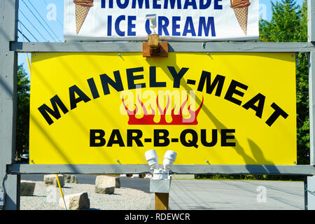 Sign for a Barbecue restaurant in Bar Harbor, Maine, USA. - Stock Image