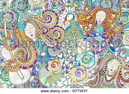 Women's faces, peacocks, hearts and flowers in intricate ornate pattern - Stock Image