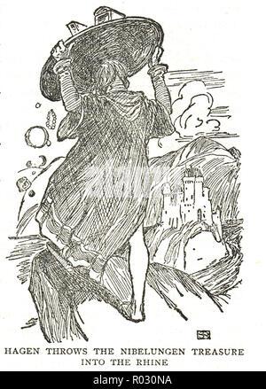 Hagen throwing the Nibelungen treasure into the Rhine - Stock Image