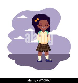 happy school girl with uniform outdoors vector illustration - Stock Image
