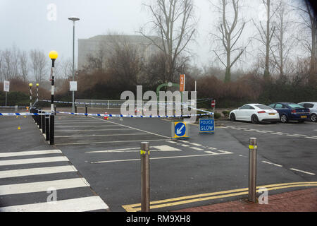 Trowbridge, Wiltshire, UK. 14th February 2019. Overnight there was a double stabbing near the Tesco Extra store. One victim rumoured to be critical. An overview of the scene from Tesco car park Credit: Starsphinx/Alamy Live News - Stock Image
