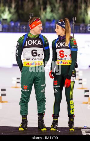 L-R: Tim Grothian, Vanessa Voigt. The German Team Challenge takes place during the JOKA Biathlon WTC auf Schalke featuring young German biathlethes. - Stock Image