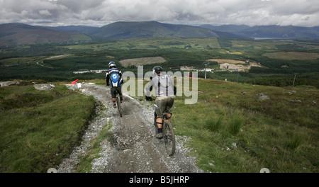 Scottish Champion Stu Thomson at the downhill mountain bike course at the Nevis Range near Fort William - Stock Image