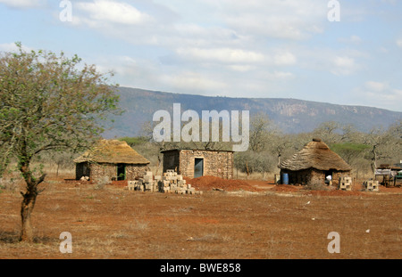 Swazi Homestead, Swaziland, South Africa - Stock Image