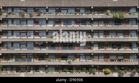 Closeup of Residential flats at the Barbican London - Stock Image