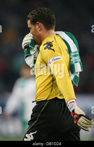 Goalkeeper Tim Wiese of Bremen is disappointed after the Bundesliga match Hanover 96 vs Werder Bremen at AWD-Arena - Stock Image