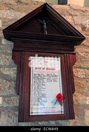 Holy Trinity Church Woodgreen Witney plaque of rememberance, West Oxfordshire, England, UK - Stock Image