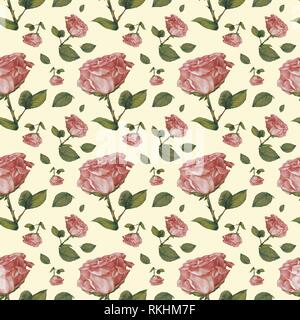 Wallpaper, wrapping paper, seamless pattern, old pink roses, background cream, Germany - Stock Image