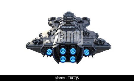 Spaceship flying, alien UFO spacecraft in flight isolated on white background, back view, 3D rendering - Stock Image