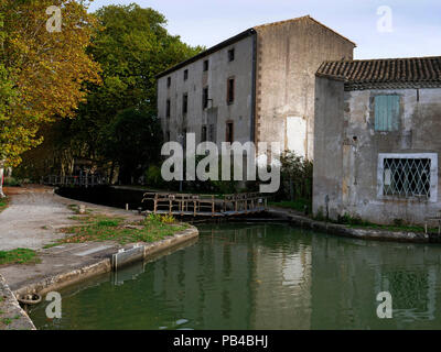 St Roch canal locks at Castelnaudary, Canal du Midi, France - Stock Image