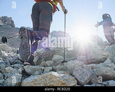 Hiker friends in Mont Cervin, Matterhorn, Valais, Switzerland - Stock Image