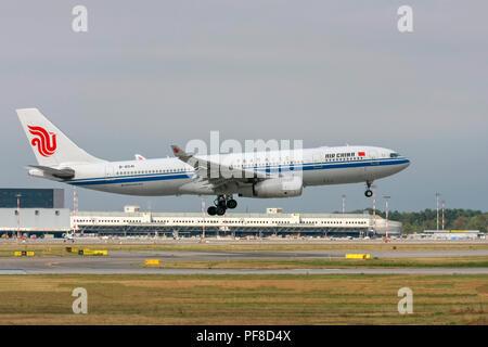 Air China Airbus A330-200, passenger jet landing. Photographed at Malpensa airport, Milan, Italy - Stock Image