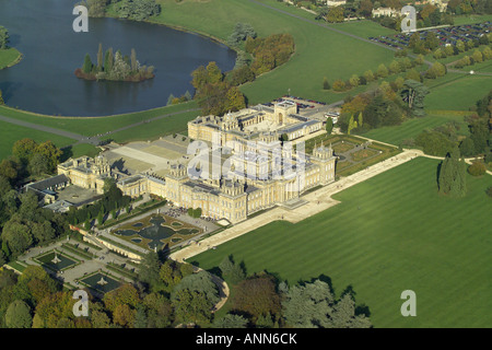 Aerial view of Blenheim Palace with it's lake and formal gardens near Woodstock in Oxfordshire, once home to - Stock Image