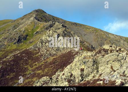 The summit ridge of Blanecathra saddle back mountain peak Lake District National Park Cumbria for sale UK England - Stock Image