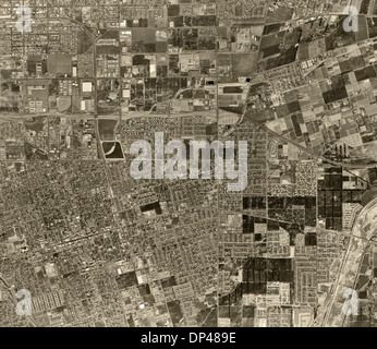 historical aerial photograph Anaheim, California, 1963 - Stock Image