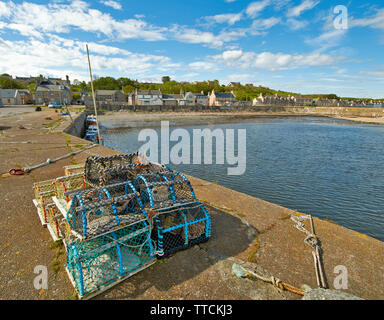 PORTGORDON MORAY SCOTLAND THE HARBOUR AND LOBSTER OR CRAB CREELS - Stock Image