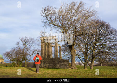 EDINBURGH, SCOTLAND - FEBRUARY 9, 2019 - The National Monument of Scotland on Calton Hill, a memorial to the Scottish soldiers - Stock Image