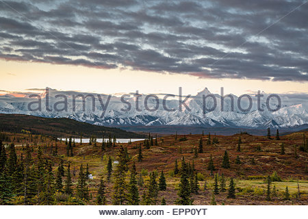 Wonder Lake and the Alaska Range in Denali national park - Alaska (USA) - Stock Image