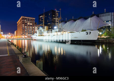 US Coast Guard Cutter Taney moored in Baltimore Inner Harbor, Maryland - Stock Image