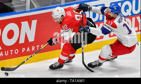 L-R Roman Josi (SUI) and Michal Moravcik (CZE) in action during the match between Czech Republic and Switzerland within the 2019 IIHF World Championship in Bratislava, Slovakia, on May 21, 2019. (CTK Photo/Vit Simanek) - Stock Image