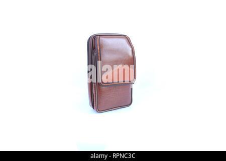 pocket bag leather on isolated - Stock Image