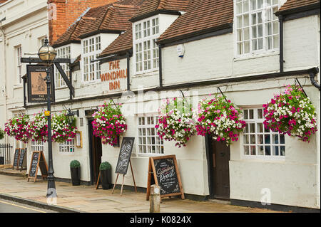 The Windmill Inn in Stratford upon Avon, decked out in colourful hanging baskets. - Stock Image