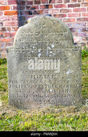 Liverpool Deane Road Cemetery Old Hebrew Congregation opened 1837 grave restored 2012 National Lottery gravestone 9 year old Miriam Harris childrens - Stock Image