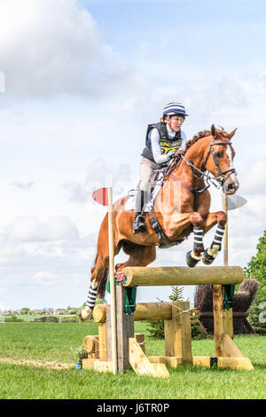 Rockingham Castle, Corby, UK. 21st May, 2017. Georgina Wood and her horse Dell Piero II clear a narrow tripple log - Stock Image