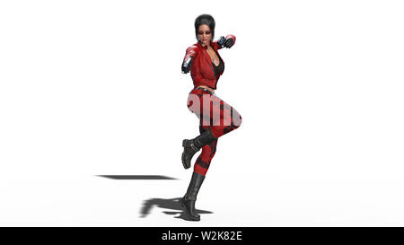 Action girl shooting guns, woman in red leather suit with hand weapons isolated on white background, 3D rendering - Stock Image
