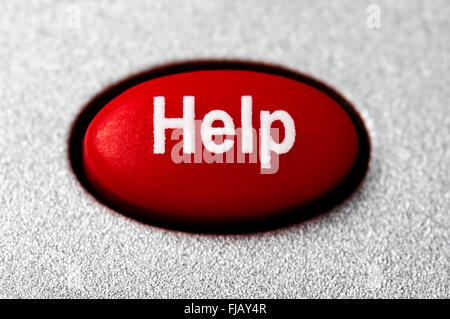 Red help button picture with a grainy silver surrounding - Stock Image
