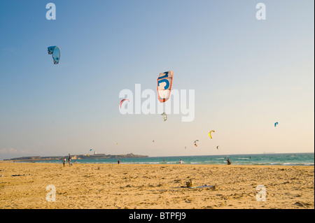 Kite surfers at Playa de Los Lances, Tarifa, Spain - Stock Image