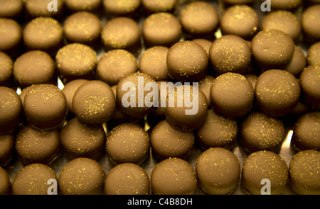 Arles; Bouches du Rhone, France; Chocolate delicacies in a typical French confectioner - Stock Image