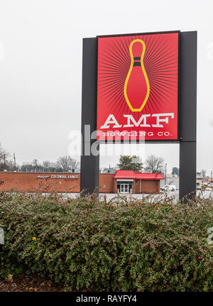 HICKORY, NC, USA-1/3/19: AMF Bowling Co. operates bowling centers and manufactures bowling equipment. - Stock Image