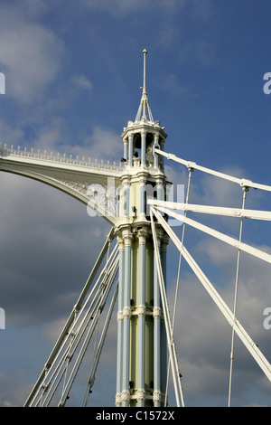Albert Bridge Detail, River Thames, London, UK. - Stock Image