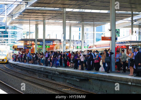 Rail commuters waiting: crowded platform at Parramatta Station, Sydney, Australia. Peak hour crowds. Going home - Stock Image