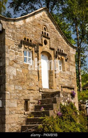 UK, Yorkshire, Wharfedale, Appletreewick, Mock Beggar Hall, (Monks Hall) steps up to gatehouse - Stock Image