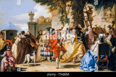 A Dance in the Country, painting by Giovanni Domenico Tiepolo, c. 1755 - Stock Image
