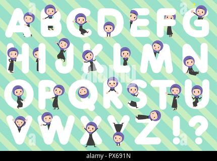 A set of women wearing hijab designed with alphabet.Characters with fun expressions pose various poses.It's vector art so it's easy to edit. - Stock Image